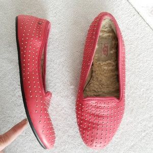 Ugg studded flamingo pink leather flats Alloway